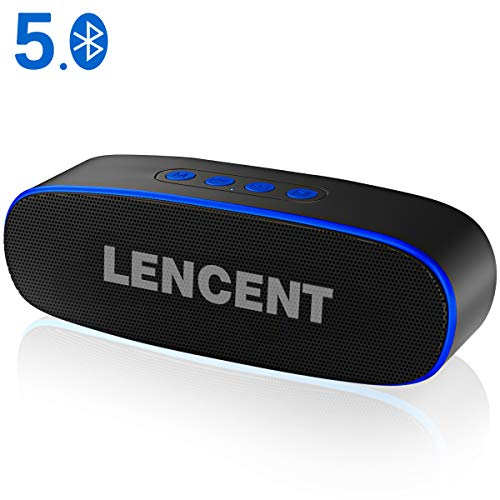 LENCENT Altavoz Bluetooth 5.0 Inalámbrico Portátiles Exterior, 360° Sonido Estéreo con Doble Driver, Tecnología TWS, Llamadas Manos Libres y TF Ranura de La Tarjeta