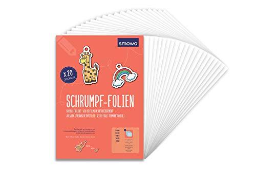 Smowo 20 Stück Schrumpffolien transparent - schrumpfende Plastikfolien zum basteln - A4 schrumpffolienplatten matt