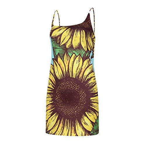 BIBOKAOKE Vestido de verano para mujer Y2K, moderno, estampado de flores, sin mangas, minivestido de espaguetis, vestido corto para mujer, estampado de tirantes, falda en A, vestido de baile
