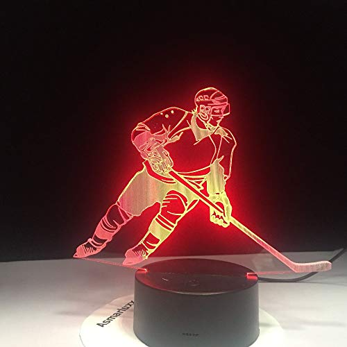 LED Eishockey Mann in Aktion USB Schlafleuchte 3D LED Nachtlicht Tischlampe Nachttisch Dekoration Kinder Geschenk