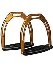 Caballos Estribo 1 par de establos de una Silla de Montar con el Compuesto de Metal de Color (Color : Yellow, Size : One Size)