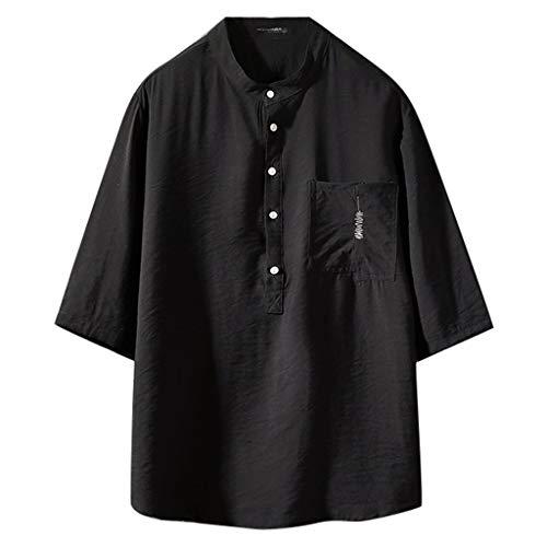 Xmiral Herren Hemden Halber Ärmel Knopf Henry Kragen T-Shirt mit Brusttasche Einfarbig V-Ausschnitt Tops Sweatshirt Hemden(Schwarz,M)
