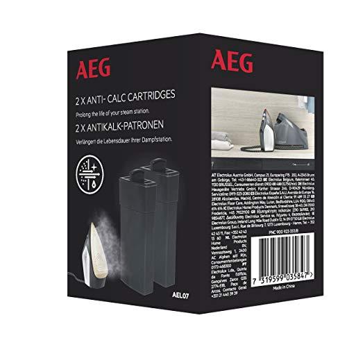AEG AEL07 Anti-Kalk-Patronen für Dampfbügelstation ST7 und ST8 (Vorbeugung von Verkalkung, hocheffiziente Filtration, Filterwechsel, Zubehör Bügelstation, einfache Handhabung, 2 Stück, schwarz)