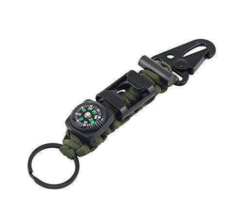 ZENDY 6 in 1 Paracord corda portachiavi moschettone con Firestarter, bussola, attrezzatura apri la sopravvivenza bottiglia per esterni (alta qualità 7 Strand) (Verde militare)