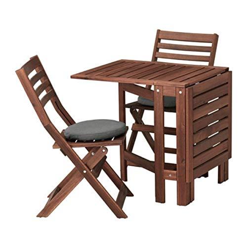 Ikea Applaro 992.686.36 - Mesa y 2 sillas Plegables, Color marrón