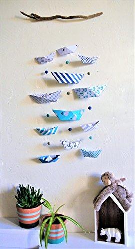 Mobile a parete per neonati / bambini 'piccole imbarcazioni' motivi di carta marini