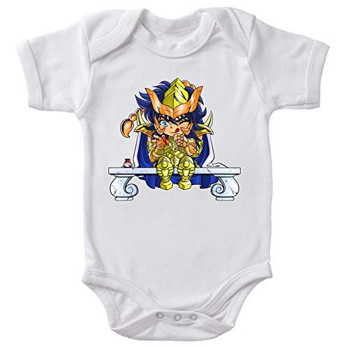 Okiwoki Body bébé Manches Courtes Blanc Parodie Saint Seiya - Milo du Scorpion Le Chevalier d'or - L'ongle écarlate :(Body bébé de qualité supérieure de Taille 6 Mois - imprimé en France)