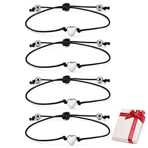 Feelairy - Juego de 4 pulseras de plata con corazón de la amistad para niñas y mujeres, ajustables, de cuerda fina, hechas a mano, cinta textil, regalo para mejor amiga o cumpleaños o Navidad