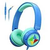Elecder i43 Kids Headphones with Microphone 85 dB 94dB Volume Limited On Ear Headphones for Kids Girls Boys Foldable Adjustable Wired Headphones with 3.5mm Jack for Cellphones PC Kindle School Tablet