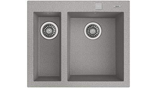Teka 115260020 Fregadero de cocina hecho de granito (granito) con un solo y medio cuenco Forsquare 590 TG gris-115260020, color gris piedra