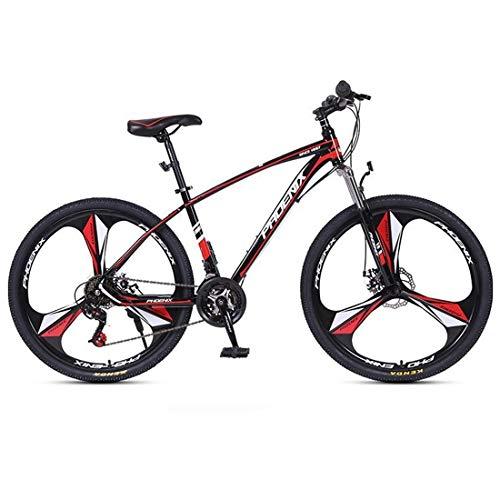 JLQWE Vélo VTT Mountain Bike, Cadre en Acier Au Carbone Hommes/Femmes Vélos Semi-Rigide, Suspension Double Disque De Frein Avant, 26/27,5 Pouces Roue (Color : Red, Size : 27.5inch)