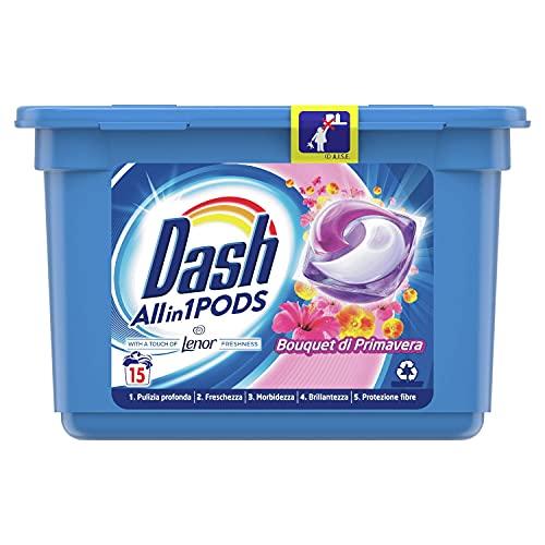 Dash All in 1 Pods Detersivo Lavatrice in Capsule, 15 Lavaggi, Profumo di Primavera, Rimuove le Macchie, per Tutti i Capi