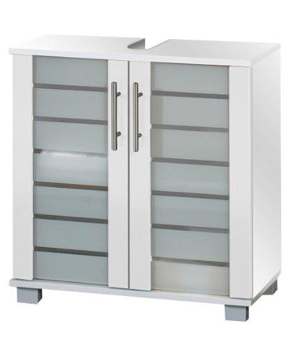lifestyle4living Waschtischunterschrank mit Korpus und Fronten in weiß mit 2 Türen, 1 Einlegeboden und 4 Füße, Maße: B/H/T ca. 60/62,5/32,5 cm