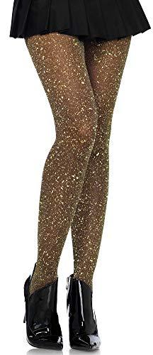 Leg Avenue Damen Strumpfhose mit Glitzer Effekten schwarz gold Einheitsgröße ca. 36 bis 40