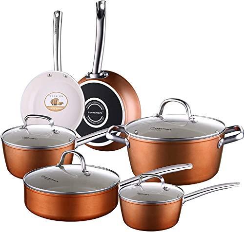 Pots and Pans Set, Nonstick Ceramic Cookware Set Copper Finish - Dishwasher Safe Oven Safe - 10 Piece