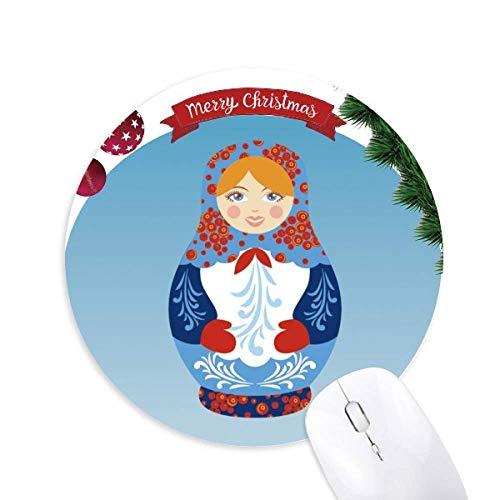 Russisches Symbol Russisches Puppenmuster Rund Gummi Maus Pad Weihnachtsbaum Mat