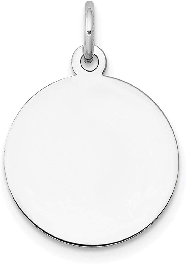 14k White Virginia Beach Mall Charlotte Mall Gold Plain Circular Charm Disc Engraveable Pendant
