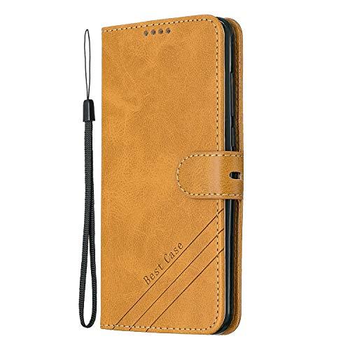 Tosim Xiaomi Redmi 5Plus Hülle Klappbar Leder, Brieftasche Handyhülle Klapphülle mit Kartenhalter Stossfest Lederhülle für Xiaomi Redmi 5 Plus - TOHEX120525 Gelb
