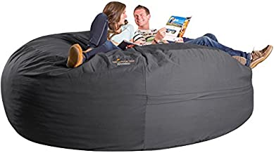 Xorbee 8-Foot Foam-Filled Bean Bag Chair in Twill, Slate Grey