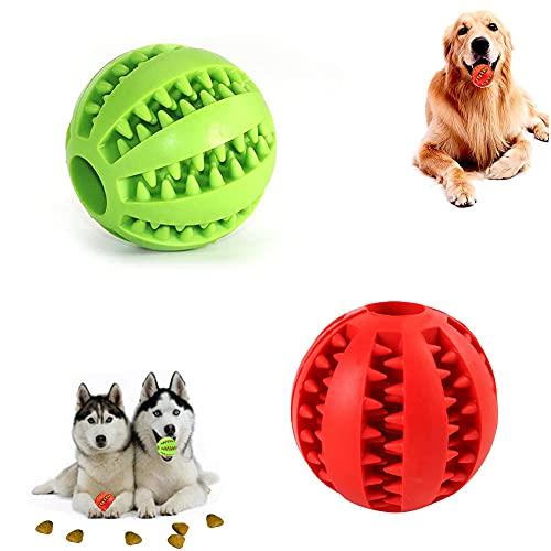 Hundespielzeug Ball,2er Pack Kauspielzeug aus Naturkautschuk,Hundeball mit Zahnpflege-Funktion,Naturgummi Hund Feeder Ball,Bissfestes Hundespielzeug,Ø 5cm Für kleine Hunde