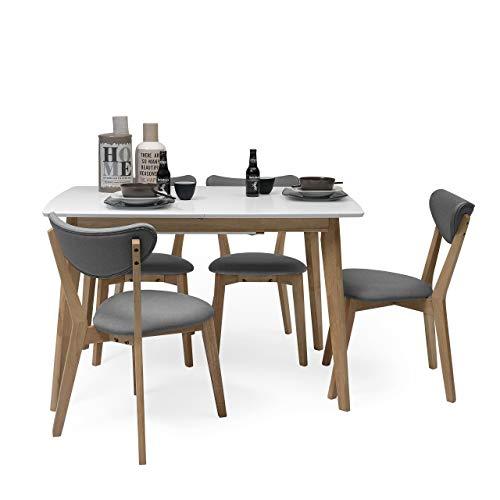 Homely - Conjunto de Comedor de diseño nórdico MELAKA Mesa Extensible de 120/160x80 cm Blanco-Roble y 4 sillas tapizadas - Gris