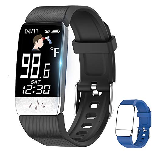 Fitness Tracker,Smart Watch with Body Thermometer Heart Rate Blood Oxygen Blood Pressure Monitor,Pedometer Sleep Monitor, Step Counter for Kids Women Men (r-Black+Blue)