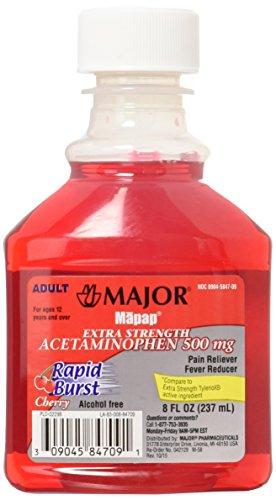 Mapap Adult Rapid Burst Cherry Extra Strength Acetaminophen Liquid 8 Ounces (Pack of 2)