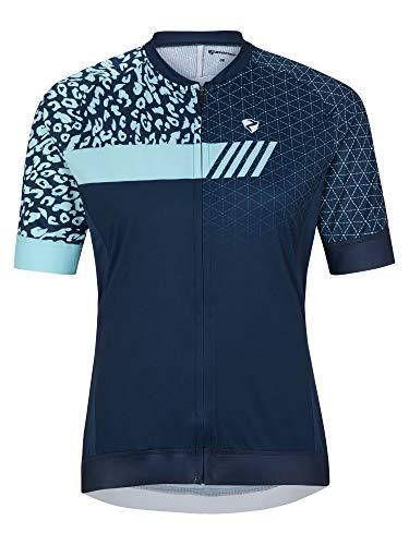 Ziener Camiseta de Ciclismo para Mujer Natja, Transpirable, de Secado rápido, elástica, de Manga Corta, Mujer, 219104, Azul Marino, 38