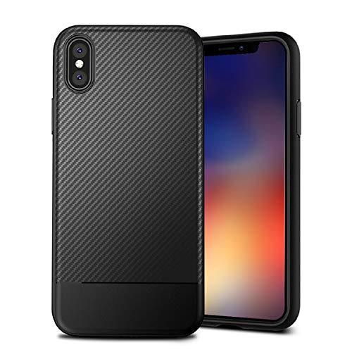 MADIBA Hülle kompatibel mit iPhone X Hülle, iPhone XS Carbon Design Black Case (Ultra Dünn)[FederLeicht] Handyhülle Bumper Cover Schutz Silikon