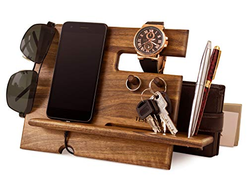 Natural Walnut Wood Phone Docking Station Key Hooks Holder Wallet Stand Watch Organizer Men Gift...