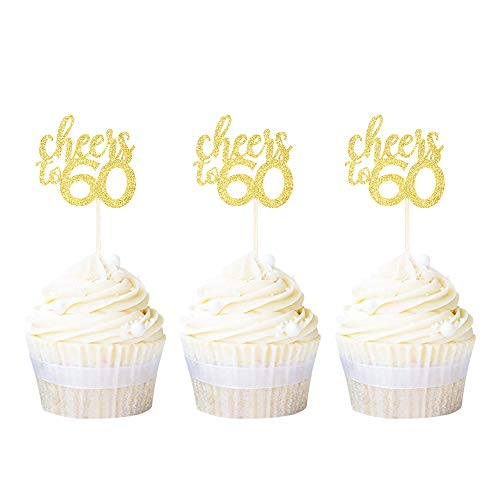 Ercadio 24 Pack Cheers to 60 Cupcake Toppers Gold Glitter Age Sixty 60th Birthday Cupcake Picks Anniversary Party Decoration Supplies