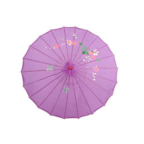 ETHAN Ombrello di Seta Cinese Vintage in Stile da Donna Decorativo Danza Servizio Fotografico Decor Ombrellone Ballo Puntelli Ombrelli Viola