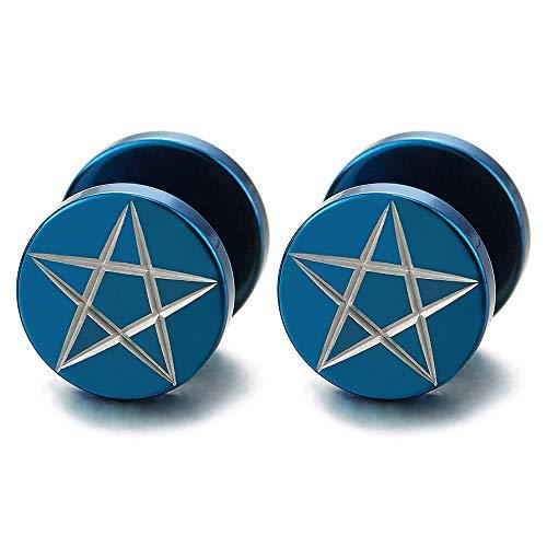 10MM Azul Estrella Pentagrama Pendientes de Hombre, Acero Enchufe Falso Fake Cheater Plugs Gauges, 2 Piezas