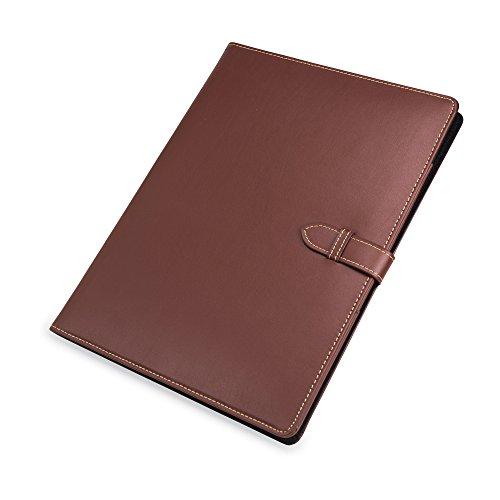 Samsill Contrast Stitch Leather Padfolio with Strap Closure– Portfolio Folder/Business Portfolio for Men & Women – Resume Document Organizer, 8.5 x 11 Writing Pad, Brown