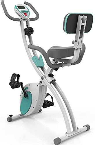 ZJDM Home Trainer Bicicleta estática, Bicicleta de Fitness, Ciclismo de Interior Vertical/Plegable/reclinado, Resistencia magnética de 8 Niveles, Volante de inercia de 6 kg, Transmisión por c