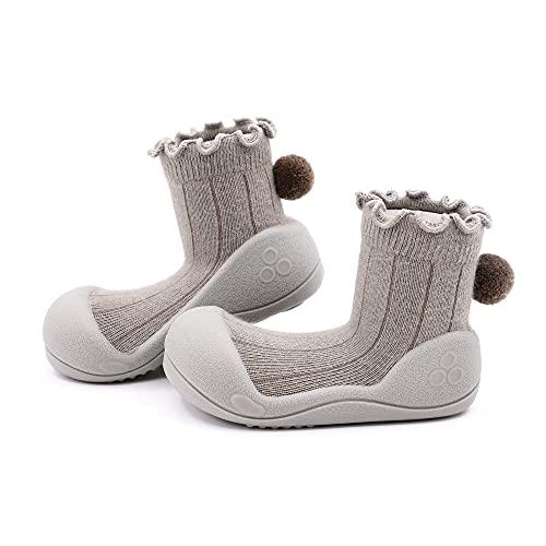 Attipas-Zapatos Primeros Pasos-Modelo Pom Pom Color Caqui (Numeric_20)