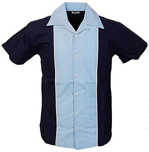 Relco Herren Kurzärmelig Bowling Shirt in marineblau/himmelblau NEU Größe M - XXXL - Blau, XX-Large