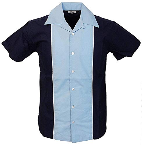 Relco Herren Kurzärmelig Bowling Shirt in marineblau/himmelblau NEU Größe M - XXXL - Blau, XXXL- Large