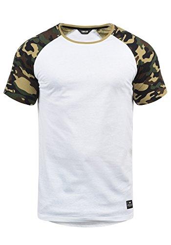 !Solid Cahil Herren T-Shirt Kurzarm Shirt Mit Rundhalsausschnitt Und Camouflage-Muster, Größe:M, Farbe:White Dusty (D0001)
