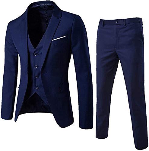 Hombre Traje Juego de Pantalones de Traje de Negocios Clásico De 3 Piezas Abrigos de Invierno Chaqueta Blazer Chaleco (Azul Marino, 4XL)