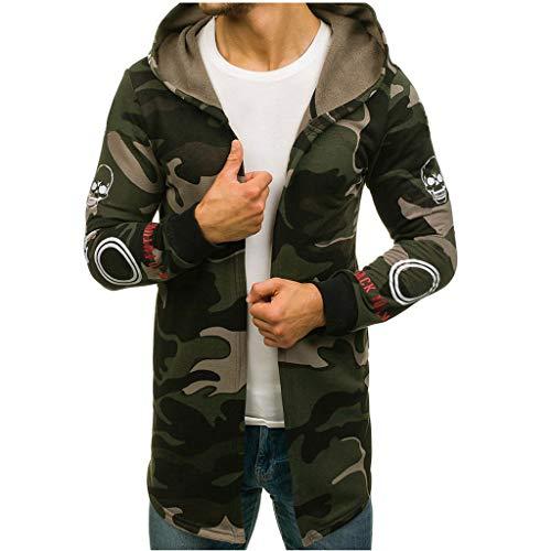 Crazboy Herren Spleißen Reißverschluss Mit Kapuze Jacke Solide Graben Mantel Strickjacke Lange Ärmel Outwear Mantel(XXXXX-Large,Armeegrün-B)