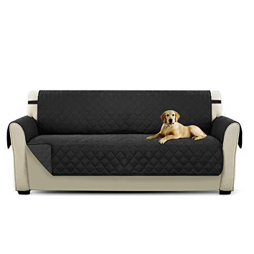 PETCUTE Sofaschoner 3 sitzer rutschfest couchbezug sofaüberzug Sofa Schutz Sofa Abdeckung 3 sitzer Sofaüberwurf Schwarz