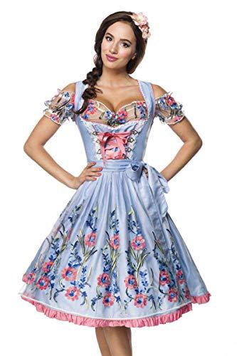3 TLG. Midi Dirndl Set Tracht Trachtenkleid Kleid Wiesn Oktoberfest Bluse 36-46 Blau/Rosa/Weiß XL (42)