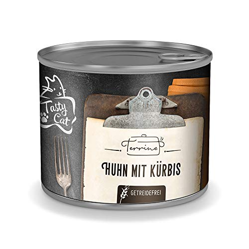 Tasty Cat Terrine Nassfutter für Katzen Huhn mit Kürbis 6 x 180g.   getreidefrei   in Soße   Monoprotein   zuckerfrei