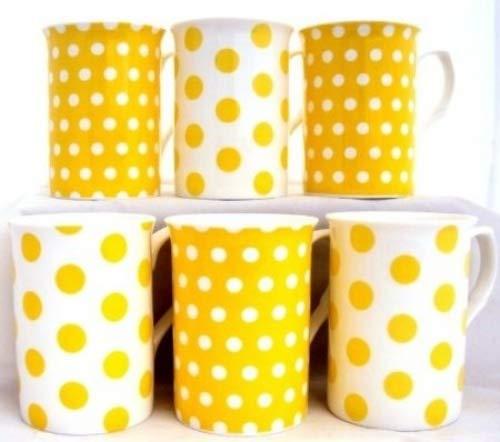 Juego de tazas grandes, color amarillo