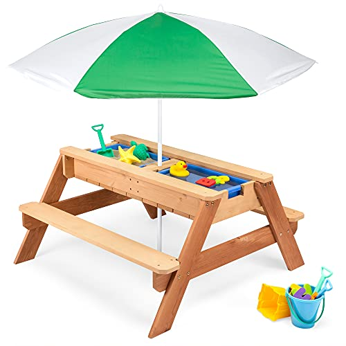 Best Choice Products Kids 3-in-1 Sand & Water Activity Table, Wood Outdoor Convertible Picnic Table w/ Umbrella, 2 Play Boxes, Removable Top