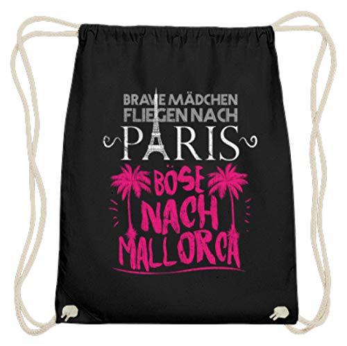 Shirtee Brave - Camiseta de algodón para niña, diseño con texto Nach Paris Böse Nach Mallorca, color Negro, tamaño 37cm-46cm