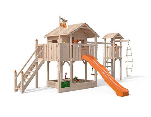 Isidor Killimando Spielturm Baumhaus Schaukel Kletterturm Rutsche 1,5 m Podest Treppe (Turm-Anbau, Orange)