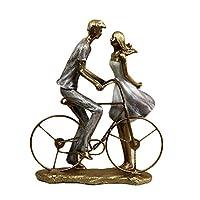 置物動物像装飾品彫刻彫像装飾品置物収集品置物ハニーバイク愛好家置物手作り子犬愛の婚約カップル像バレンタインデーの装飾水