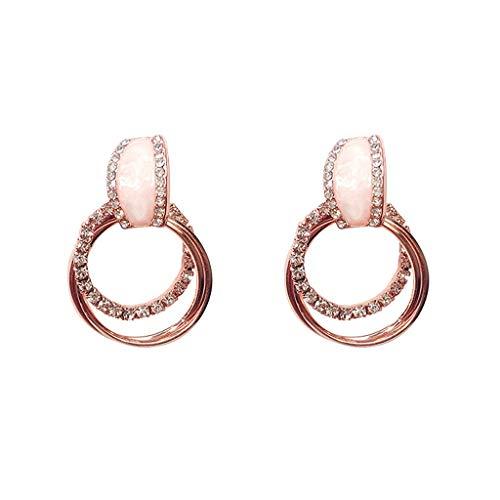 LABIUO Damen Ohrringe Mode Kristall Strass Doppel Ring Zirkon Ohrringe Einfache Geometrische Kreisohrringe(Rose Gold,Freie Größe)